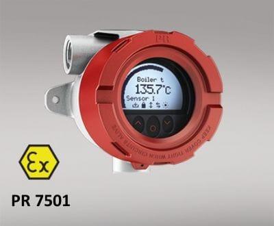 Transmissor de temperatura HART montado em campo 7501. Transmissor ou sensor de temperatura convertem o sinal de vários tipos de sensores como termorresistência, termopares e também potenciômetros, em um sinal de saída padronizado. Com transmissores digitais de temperatura, o tipo de sensor e a faixa de medição, além de muitas outras opções como, por exemplo, a sinalização de erro ou a identificação do ponto de medição, podem ser livremente configuradas.