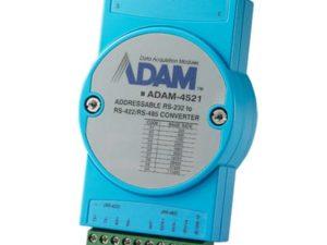 ADAM 4521 AE - RS-422/485 para RS-232 - Conversor Endereçavel. RS-485 automática de dados de controle de fluxo. 1000 VDC protecção isolamento. Proteção contra surtos RS-485 linha de dados. A velocidade de transmissão de até 115,2 Kbps. Networking até 1200 metros (4000 pés)