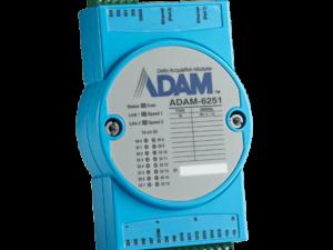 Módulo ADAM 6251 B - Módulo TCP de Entrada Digital Isolado. 16-ch DI, 2 portas Ethernet. Ligação em cadeia de margarida com protecção contra bypass automático. Monitoramento e controle remoto com dispositivos móveis