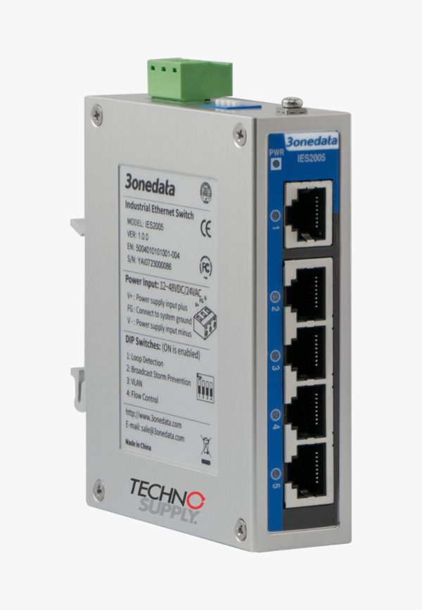O IES2005-5T-P48 é um switch Ethernet industrial não gerenciado de 5 portas 100M. Ele fornece portas de cobre 100M e adota montagem em trilho DIN ou montagem em parede, que pode atender aos requisitos de diferentes cenários de aplicação.